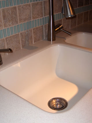 solid surface countertop and kitchen sink